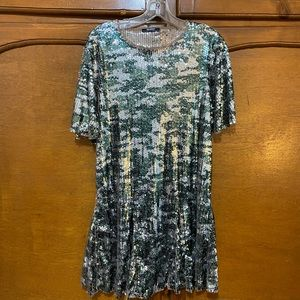 ZARA Camo Sequin Dress